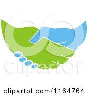 Poster, Art Print Of Green And Blue Handshake 2