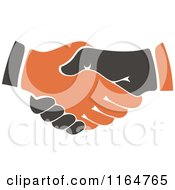 Clipart Of A Black And Orange Handshake Royalty Free Vector Illustration