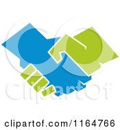 Clipart Of A Green And Blue Handshake Royalty Free Vector Illustration