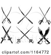 Clipart Of Black And White Crossed Swords 3 Royalty Free Vector Illustration