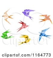Clipart Of Origami Hummingbirds 2 Royalty Free Vector Illustration by Vector Tradition SM
