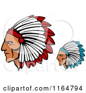 Clipart Of Native American Braves With Feathered Headdresses Royalty Free Vector Illustration