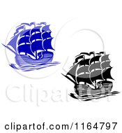 Clipart Of Blue And Black Brig Ships Royalty Free Vector Illustration