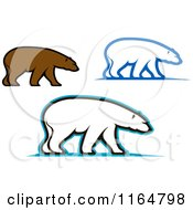 Clipart Of Brown And Polar Bears Royalty Free Vector Illustration by Vector Tradition SM