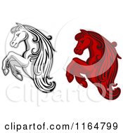 Clipart Of Red And Grayscale Rearing Horses Royalty Free Vector Illustration