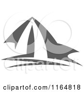 Clipart Of A Gray Camping Tent Royalty Free Vector Illustration