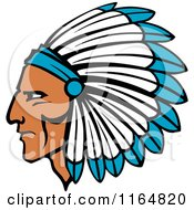 Clipart Of A Native American Brave With A Blue And White Feather Headdress Royalty Free Vector Illustration