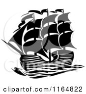 Clipart Of A Black And White Brig Ship Royalty Free Vector Illustration
