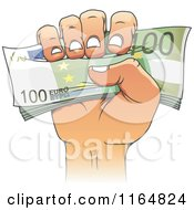 Clipart Of A Cartoon Hand Holding Euro Cash Royalty Free Vector Illustration