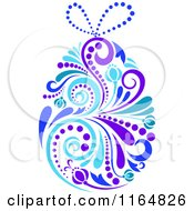 Clipart Of A Purple And Blue Floral Easter Egg Royalty Free Vector Illustration
