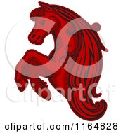 Clipart Of A Red Rearing Horse Royalty Free Vector Illustration