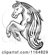 Clipart Of A Grayscale Rearing Horse Royalty Free Vector Illustration