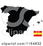 Clipart Of A Black Map Of Spain And Flag Royalty Free Vector Illustration
