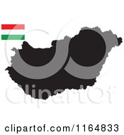 Clipart Of A Black Map Of Hungary And Flag Royalty Free Vector Illustration
