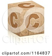 Clipart Of A Brown Grungy Letter C Cube Royalty Free Vector Illustration