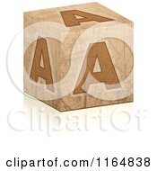 Clipart Of A Brown Grungy Letter A Cube Royalty Free Vector Illustration