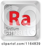 Clipart Of A 3d Red And Silver Radium Chemical Element Keyboard Button Royalty Free Vector Illustration