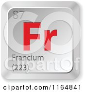 Clipart Of A 3d Red And Silver Francium Chemical Element Keyboard Button Royalty Free Vector Illustration