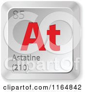 Clipart Of A 3d Red And Silver Astatine Chemical Element Keyboard Button Royalty Free Vector Illustration