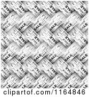 Clipart Of A Black And White Weaved Sale Pattern Royalty Free Vector Illustration