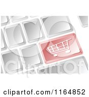 Clipart Of A 3d Computer Keyboard With A Shopping Cart Button Royalty Free Vector Illustration