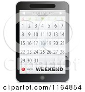 Clipart Of A Touch Phone With A Calendar App Open Royalty Free Vector Illustration by Andrei Marincas