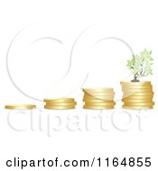 Clipart Of A Graph Of Piled Coins With A Tree Royalty Free Vector Illustration