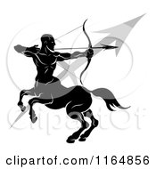Clipart Of A Black And White Horoscope Zodiac Astrology Sagittarius Centaur Archer And Sybmol Royalty Free Vector Illustration