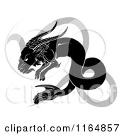 Clipart Of A Black And White Horoscope Zodiac Astrology Capricon Sea Goat And Sybmol Royalty Free Vector Illustration