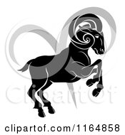 Clipart Of A Black And White Horoscope Zodiac Astrology Aries Ram And Sybmol Royalty Free Vector Illustration