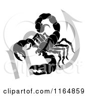 Clipart Of A Black And White Horoscope Zodiac Astrology Scorpio Scorpion And Sybmol Royalty Free Vector Illustration by AtStockIllustration