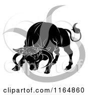 Clipart Of A Black And White Horoscope Zodiac Astrology Charging Taurus Bull And Sybmol Royalty Free Vector Illustration