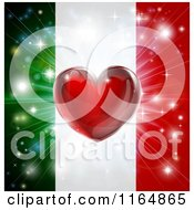 Clipart Of A Shiny Red Heart And Fireworks Over An Italian Flag Royalty Free Vector Illustration