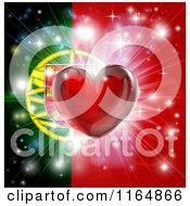 Clipart Of A Shiny Red Heart And Fireworks Over A Portugese Flag Royalty Free Vector Illustration