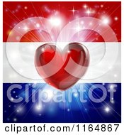 Clipart Of A Shiny Red Heart And Fireworks Over A Netherlands Flag Royalty Free Vector Illustration by AtStockIllustration