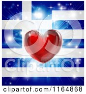Clipart Of A Shiny Red Heart And Fireworks Over A Greek Flag Royalty Free Vector Illustration
