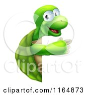 Cartoon Of A Happy Tortoise Pointing To A Sign Royalty Free Vector Clipart by AtStockIllustration