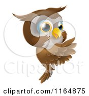 Cartoon Of A Happy Owl Pointing To A Sign Royalty Free Vector Clipart by AtStockIllustration