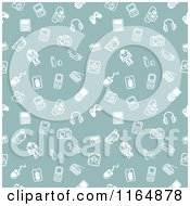 Clipart Of A Seanless Green Gadget Background Pattern With White Icons Royalty Free Vector Illustration