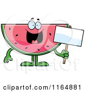Cartoon Of A Watermelon Mascot Holding A Sign Royalty Free Vector Clipart