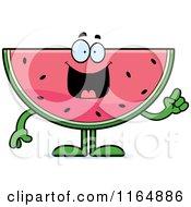 Cartoon Of A Watermelon Mascot With An Idea Royalty Free Vector Clipart