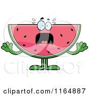 Cartoon Of A Screaming Watermelon Mascot Royalty Free Vector Clipart