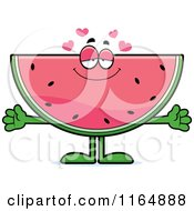 Cartoon Of A Loving Watermelon Mascot Royalty Free Vector Clipart