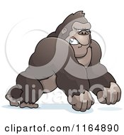 Cartoon Of A Mad Gorilla Leaning Forward On His Knuckles Royalty Free Vector Clipart