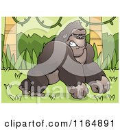 Cartoon Of A Mad Gorilla In A Jungle Leaning Forward On His Knuckles Royalty Free Vector Clipart