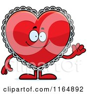 Cartoon Of A Waving Red Doily Valentine Heart Mascot Royalty Free Vector Clipart