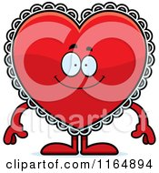 Cartoon Of A Happy Red Doily Valentine Heart Mascot Royalty Free Vector Clipart