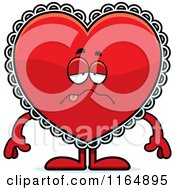 Cartoon Of A Sick Red Doily Valentine Heart Mascot Royalty Free Vector Clipart