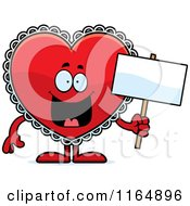 Cartoon Of A Red Doily Valentine Heart Mascot Holding A Sign Royalty Free Vector Clipart