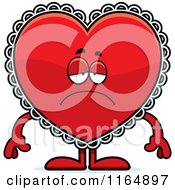 Cartoon Of A Depressed Red Doily Valentine Heart Mascot Royalty Free Vector Clipart